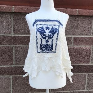 F21 bohemian embroidered top